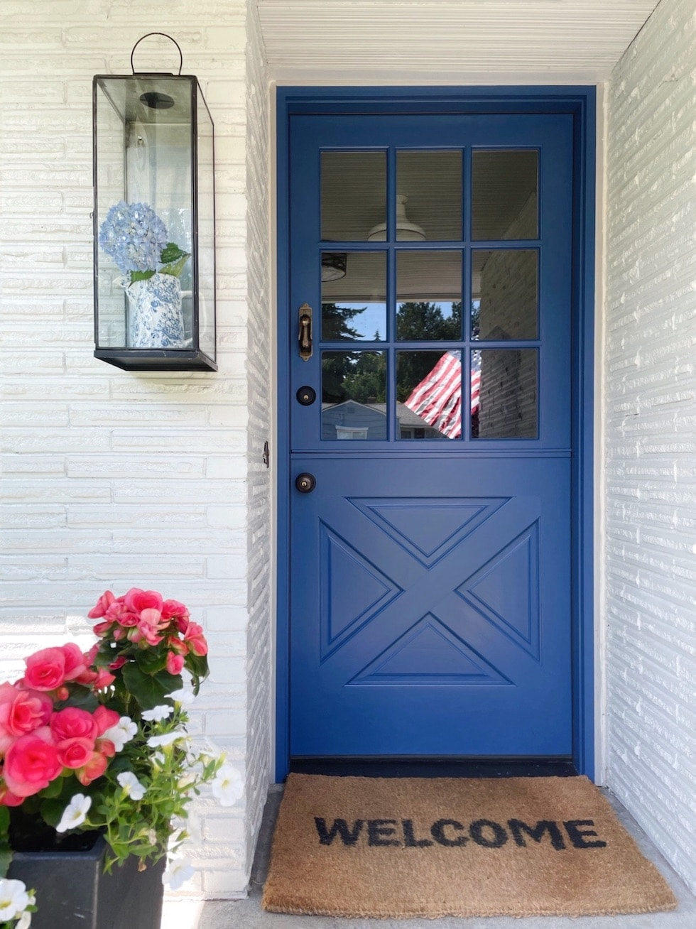 Brick Ranch to Cottage: Blue Dutch Door Before & After