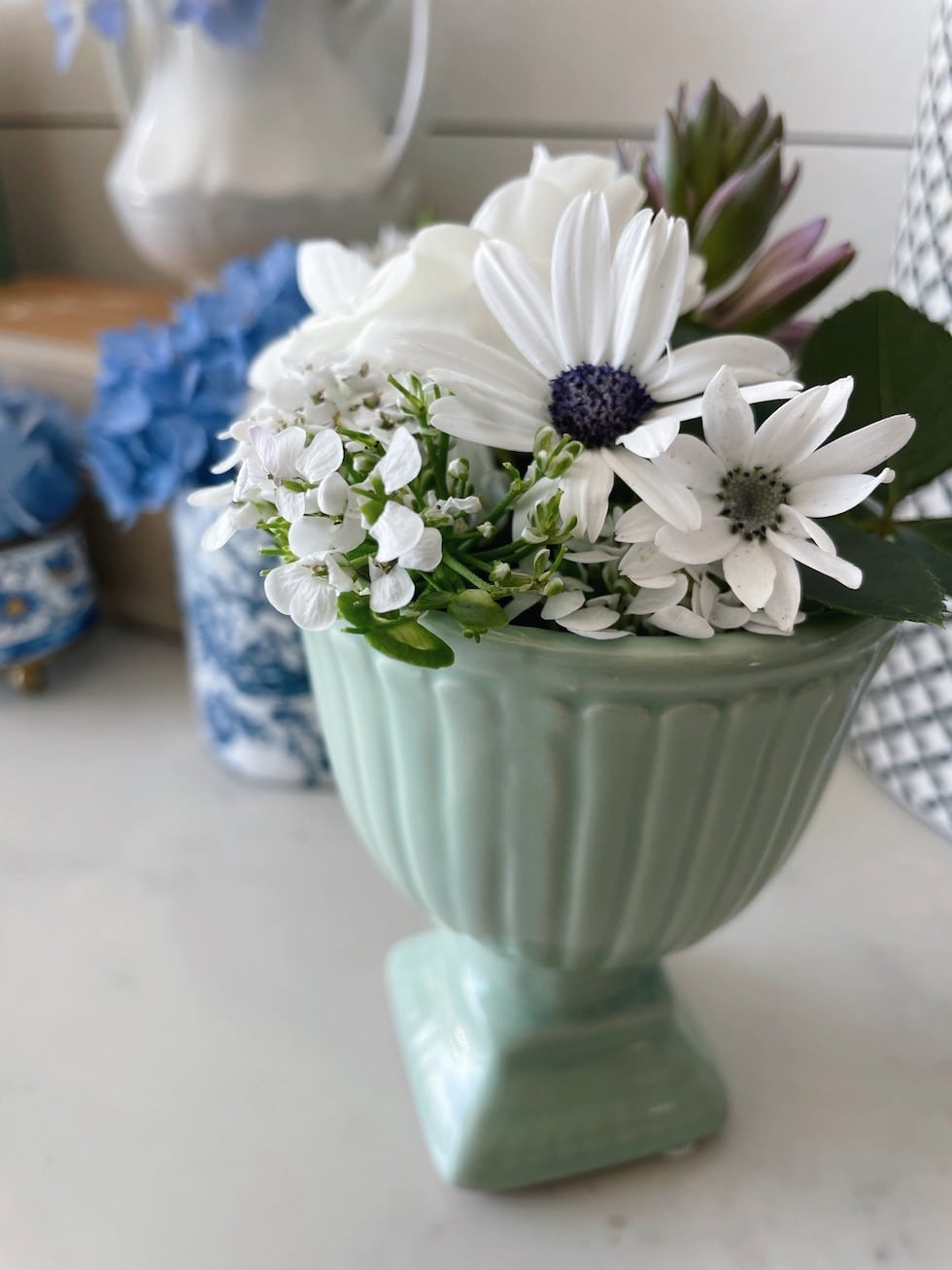 Tiny Bouquets in Small Repurposed Vases